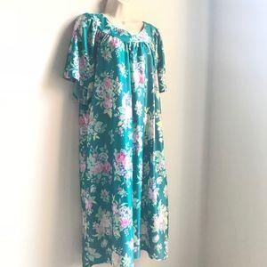 Vintage 1970s Style Teal Floral Muumuu Size 3X